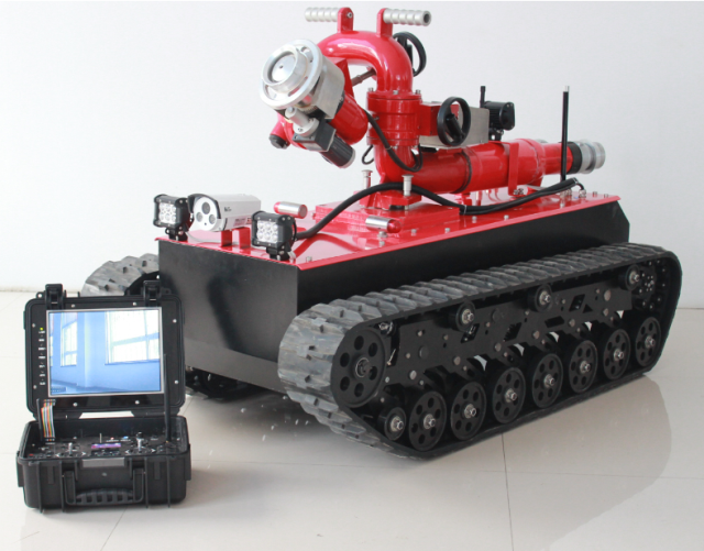 HMRBVT01 Tracked Fire Fighting Robot Remote Control With Double Water Belt Supply